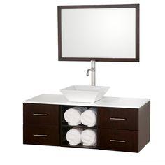 "Wyndham Collection Abba 48"" Single Bathroom Vanity Set with Mirror"