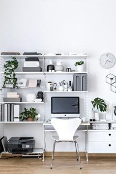 Here are 11 inspiring ways to organize and decorate a home office. In this post, you will find ideas on desk organization, home office storage and more! Workspace Design, Office Interior Design, Office Interiors, Office Workspace, Office Designs, Small Workspace, Apartment Office, Apartment Interior, Apartment Design