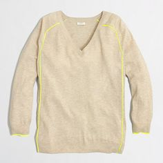 color: stone/kiwi J.Crew Factory - Factory tipped draped V-neck sweater