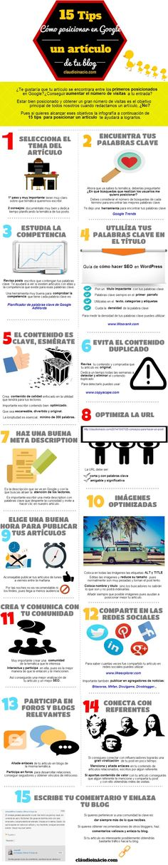 Infografía 15 tips cómo posicionar en Google un artículo de tu blog..Espero que os sea útil!