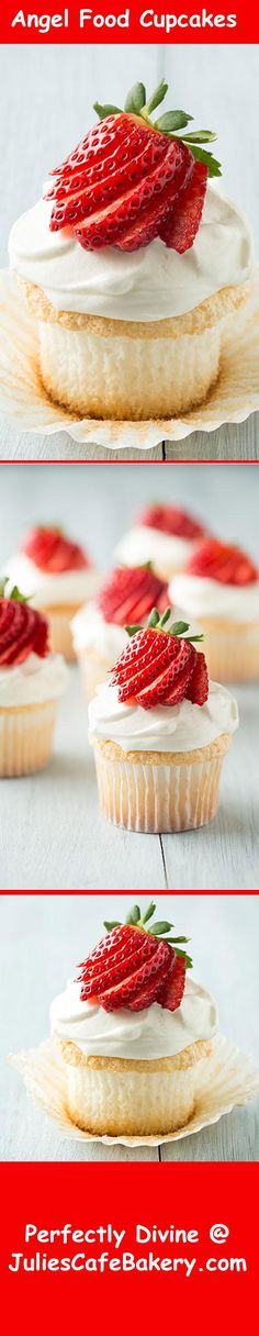 Angel Food Cupcakes - I love anything that tastes as good as it looks. These angel food cupcakes are really that good that it must be the food of angels :) I am a big fan of fruit so having the strawberry finish it off on the top is a real big bonus for me.  The whipped cream topping is soft sweet, light and creamy and is the perfect finish to a real great cupcake. This is well worth the effort put into making it.   #cupcakes #yum #yummy #recipes