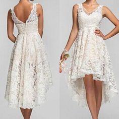 2016 Plus Size alto baixo vestidos de casamento do Vintage Lace V Neck voltar jardim vestidos de noiva Custom Made Short Beach