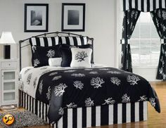 Victor Mill Coral 10 Piece Daybed Bedding Set - Black & White by Victor Mill Bedding : The Home Decorating Company King Duvet Cover Sets, King Comforter Sets, Bedding Sets, Black White Bedding, Black White Bedrooms, Black Comforter, Daybed Sets, Daybed Bedding, Quilts