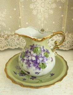 Pretty Wash Bowl and Pitcher Set Tea Cup Saucer, Tea Cups, Raindrops And Roses, Flower Cart, Sweet Violets, China Sets, China Painting, All Things Purple, Vintage Dishes