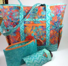 Made a wedding shower gift for a friend - So pleased! Large CarryAll Travel tote with Makeup Pouch & Sunglass 'kase'