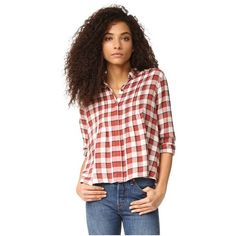 Current/Elliott The Tuck Blouse (870 ILS) ❤ liked on Polyvore featuring tops, blouses, danika plaid, petite long sleeve blouses, long sleeve tops, plaid blouse, drape top and petite long sleeve tops