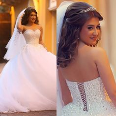 Vestido de Casamento 2015 Ball Gown Wedding Dress Pearls White Lace Up Bridal Gowns Arabic Floor Length Strapless Tulle W4267