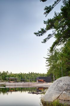 Quiet Modernism Inspired by Private Boathouse and Docking Facility in Canada