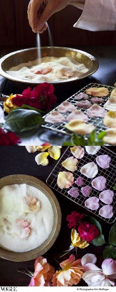 crystallized rose petal or any other edible flowers can be used too. these make gorgeous embellishment on any dessert. Kreative Desserts, Vegan Wedding Cake, Yummy Food, Tasty, Flower Food, Sugar Flowers, Sugar Rose, High Tea, Beltane