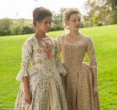 """Belle"" is a lovely film set in the late 18th century, based on true events. Gugu Mbatha-Raw, left, and Sarah Gadon on set"