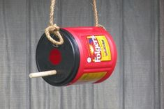folgers coffee can bird house craft idea for cub scouts Stan drinks so much Coffee we would for sure have enough cans for next year! (for more fun decorate with stickers, paint, and/or glitter/jewels) Bird House Feeder, Bird Feeders, Recycled Crafts, Diy Crafts, Folgers Coffee, Coffee Cans, Coffee Can Crafts, Cub Scout Crafts, Wren House