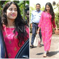 Jhanvi Kapoor looks pretty in Pink as she gets snapped post her dance rehearsals! Dress Indian Style, Indian Dresses, Indian Wear, Indian Outfits, Stylish Outfits, Fashion Outfits, White Outfits, Casual Indian Fashion, Traditional Fashion