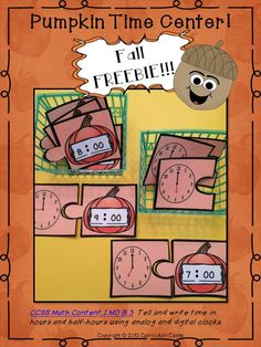Telling time to the hour pumpkin center FREEBIE! CCSS 1.MD.B.3