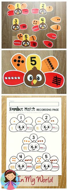 FREE Thanksgiving Math Centers for Kindergarten. Number match.