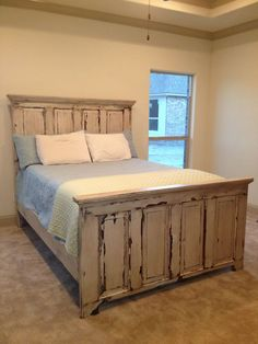 Distressed Headboard And Footboard Made From Two Old Doors (ordinary Headboards Made From Old Doors Headboard From Old Door, Headboard And Footboard, Headboards For Beds, King Headboard, Headboard Door, Distressed Headboard, Distressed Furniture, Distressed Doors, Door Bed Frame