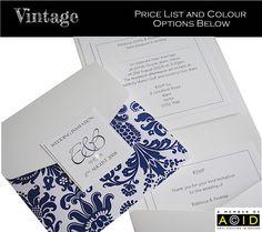Vintage damask print pocket wedding invitation In navy blue