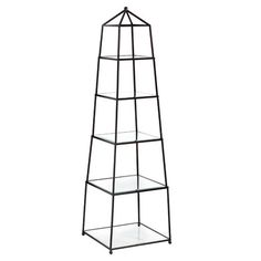 5-tier etagere with a triangle top.   Product: EtagereConstruction Material: Metal and glassColor: ...