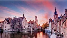 Bruges Sunset Print by Barry O Carroll Different Types, Types Of Lighting, Bruges, Weather Conditions, Belgium, Fine Art America, Sunset, Prints, Photography