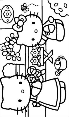 Hello Kitty Coloring Picture Of Her Garden Free Printable Pages