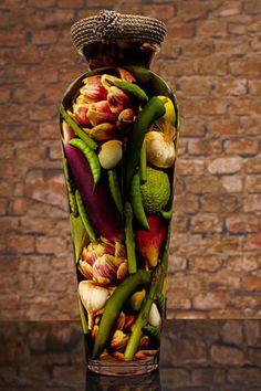 Sarabella Tuscan Art, Peas Asparagus Figs and Artichokes