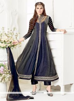 Look ethnic in this sort of a affluent black and grey georgette salwar suit. The wonderful embroidered and print work a significant attribute of this dress. Comes with matching bottom and dupatta. (Sl...