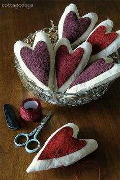 Pin cushion fabric heart