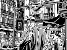 """""""Chueca"""" illustrations series by Miguel Navia @ Madrid, Spain. Chiara Bautista, Retro Illustration, 2d Art, Character Concept, Great Artists, Illustrations Posters, Detective, Coloring Pages, Anime Art"""