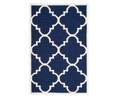 Vloerkleed Alameda, marineblauw/ivoorkleurig, 182 x 274 cm | Westwing Home & Living