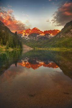 'Maroon Bells,' United States, Colorado, Aspen, Maroon Bells Sunrise by WanderingtheWorld (www.LostManProject.com), via Flickr