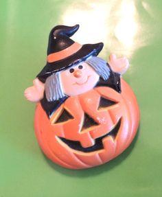 Enesco Witch Brooch Enesco Halloween Pin Pumpkin by OodlesofBling