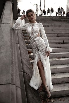 The stunning 2019 Liberty collection of wedding dresses from Oved Cohen. These dresses from Isreali designer Oved Cohen are perfect for a beautiful boho bride! Western Wedding Dresses, Bohemian Wedding Dresses, Lace Weddings, Boho Dress, Bridal Dresses, Lace Wedding Dress With Sleeves, Long Sleeve Wedding, Dresses With Sleeves, Lace Sleeves