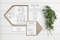 Rustic Botanical Wreath // Wedding Invitation Suites and