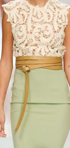 Mint Green Pencil Skirt+ Crochet Ivory Lace Top. This would be a great wedding guest look