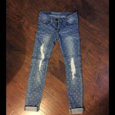 NWOT Boutique Skinny Jeans Adorable, polka dot distressed skinny jeans!  Never worn! Jeans Skinny