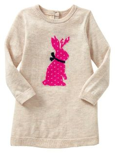 Intarsia bunny sweater dress. I'm in love with this dress!! I can just picture it with cute pink leggings