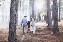 Family holding hands and walking in sunny woods - Chris Ryan/Caiaimage/Getty Images