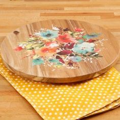 """The Pioneer Woman Willow 12"""" Lazy Susan Natural Acacia Wood Smooth Rotation New #THEPIONEERWOMAN"""