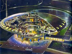"""talesfromweirdland: """"The former Dutch science museum (now a conference centre) Evoluon in Eindhoven Drawing by tech illustrator/futurologist Robbert Das. Science Fiction, 70s Sci Fi Art, Illustration Art Drawing, Spirited Art, Science Museum, City Landscape, Bear Art, Sci Fi Movies, Eindhoven"""