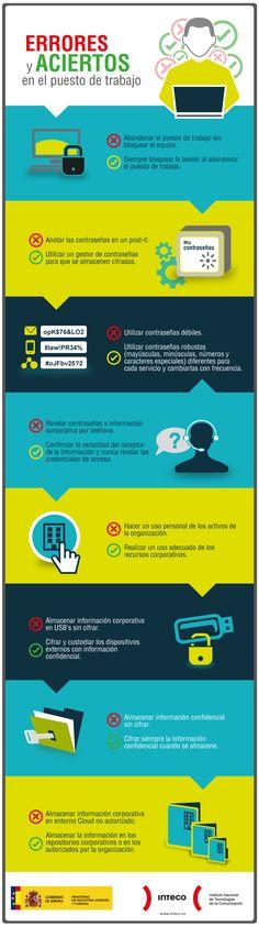 Errores de seguridad más comunes en el puesto de trabajo #infografia #infographic vía @INTECO