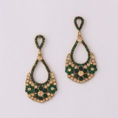 Green & Yellow Stone Diamond Earring By Variation