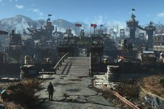 Blade Runner meets Fallout 4 in this amazing settlement creation Post Apocalyptic Series, Post Apocalyptic City, Fallout 4 Settlement Ideas, Paris Skyline, New York Skyline, Fallout Cosplay, Fallout Art, Sanctuary City, Fall Out 4