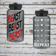 Get your BEAST mode on with this great water tracker water bottle. - 34 oz. single wall bottle - BPA Free - Features two-tone threaded lid - Personalized with outdoor vinyl - Hand washing only. - Do n