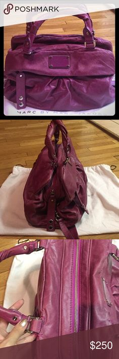 Marc by Marc jacobs Pre loved Marc by Marc Jacobs bag.   A fun feminine color.  Great condition. Few pen marks on interior of bag but overall a Beautiful bag. Matching wallet also on sale and listed in my closet.  Bundle both for a great discount :) Marc By Marc Jacobs Bags Satchels