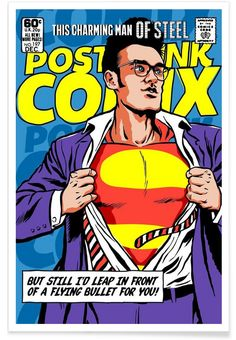 Post-Punk Comix- Super Moz - This Charming Man of Steel as Premium Poster | JUNIQE
