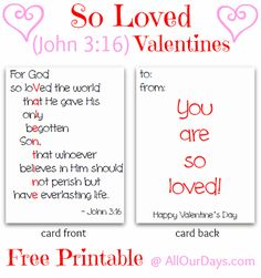 So Loved Valentine's Day Cards {Free Printable}