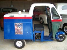 1957 Cushman MailsterCushman MailsterCanvas front and doors. Very rare, used in the central pa mail service. 8hp huskee engine and 4-speed gearbox.
