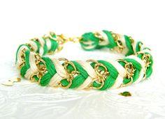 Neon Kelly Green & Neutral - Chevron Braided Modern Friendship Bracelet - Gold Chain. $13.00, via Etsy.