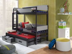 Pat etajat din lemn masiv de pin de 3 persoane Quatro #homedecor #interiodesign #inspiration #homedesign #kids #kidsroom #bedroom Mattress Covers, Bed Mattress, Childrens Bunk Beds, Bunk Bed With Trundle, Canopy Curtains, Wood Joinery, Kiln Dried Wood, Built In Desk, Bed Sizes