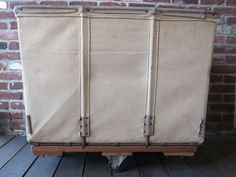 Vintage Canvas and Leather Utility, Mail or Laundry basket on wheels