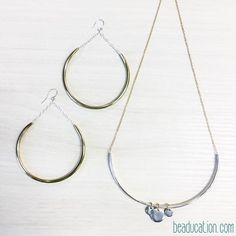 What do you create with metal tubing? We made these super light weight hoop earrings and matching necklace. Check out the metal tubing and the FREE DIY for this set at Beaducation.com!